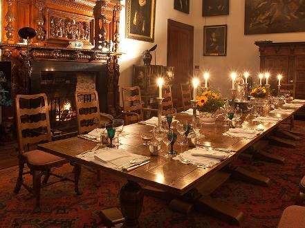 Dining room at Broomhall Robert the Bruce with Tartan Tours Scotland